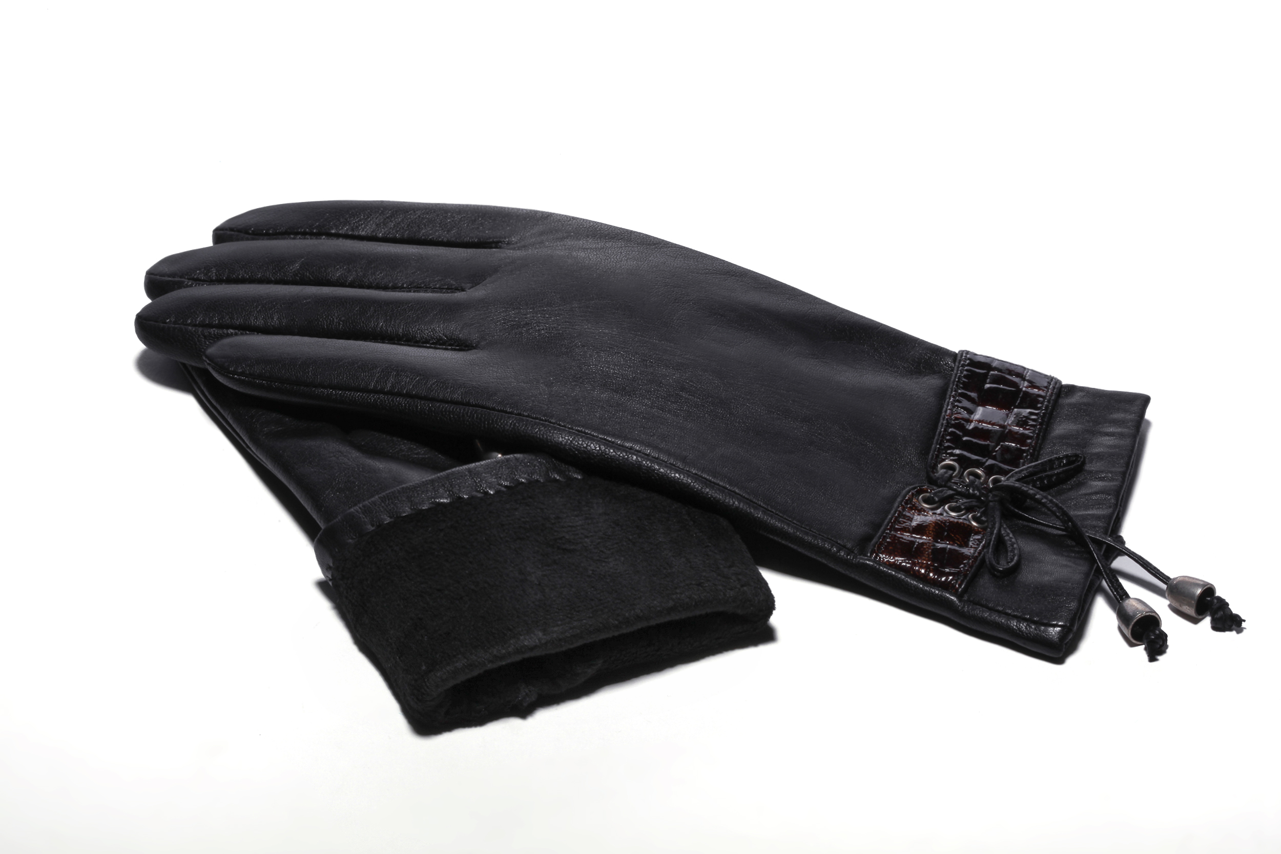 MoDA Women's Ms. Santiago Solid Leather Gloves with Tie up Animal print Cuff C0162 Black