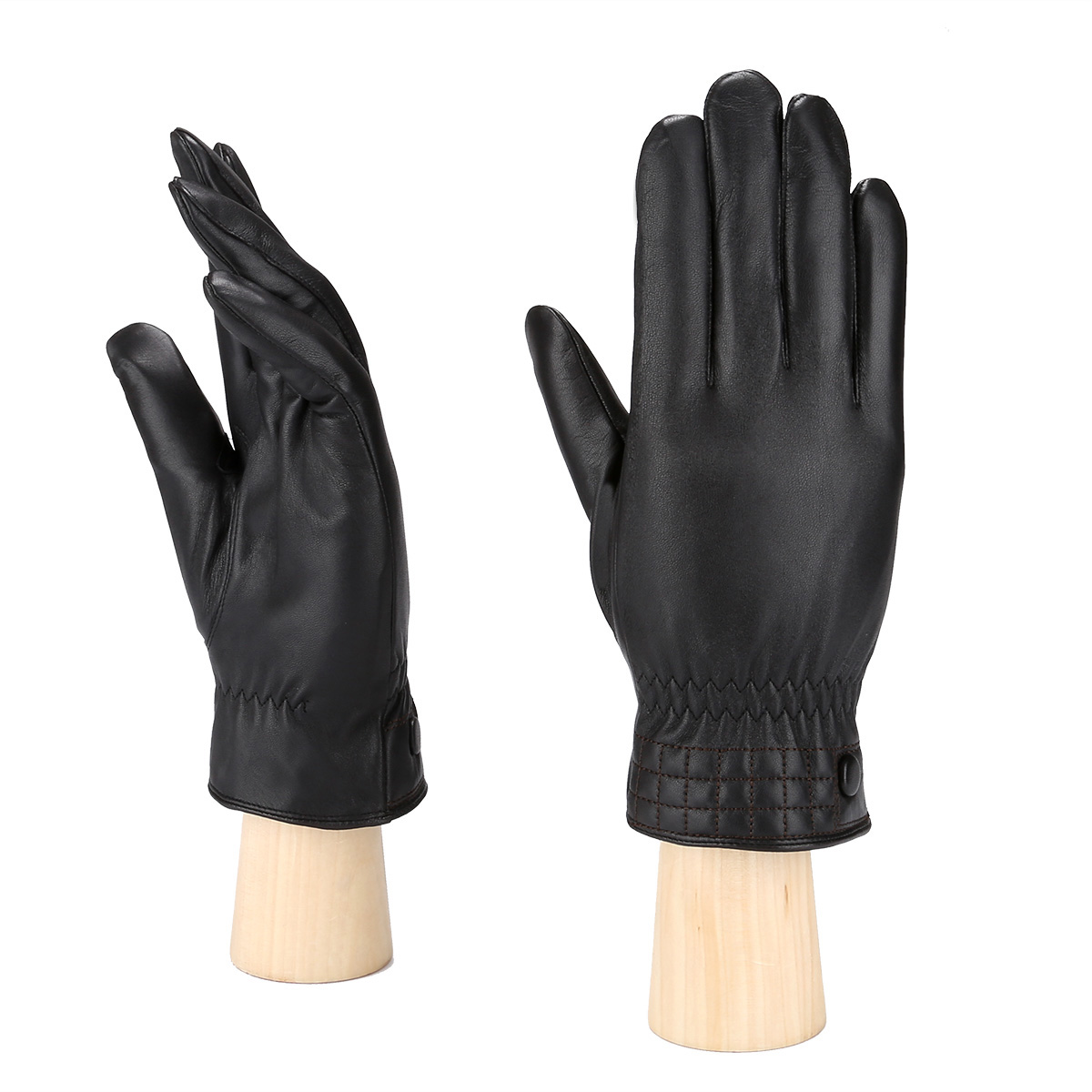 MoDA Men's Mr. Minneapolis Men's Slim Fit Checkered Stitch Leather Gloves C0176 Black