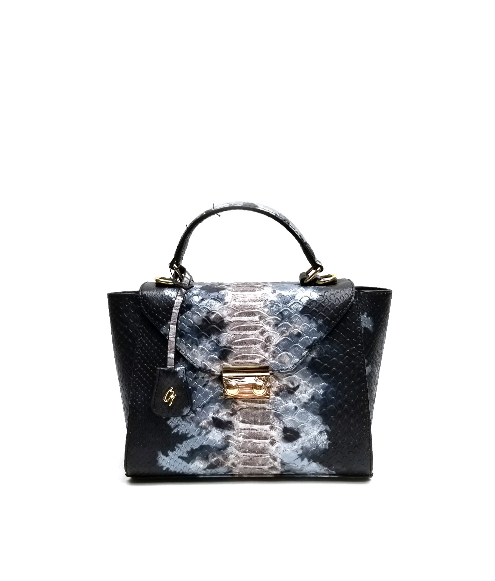 MoDA Snake Print satchel with metal hardware squeeze lock  closure