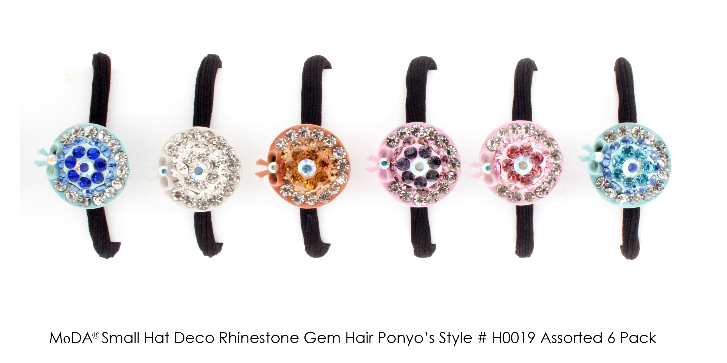 MoDA Hair Ponyo with Small Hat Deco Rhinestone Gem Set of 6 Assorted Colors
