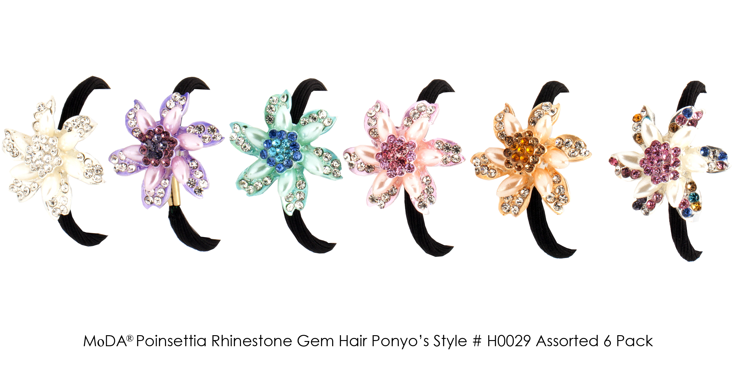 MoDA Hair Ponyo with Poinsettia Rhinestone Gem Set of 6 Assorted Colors