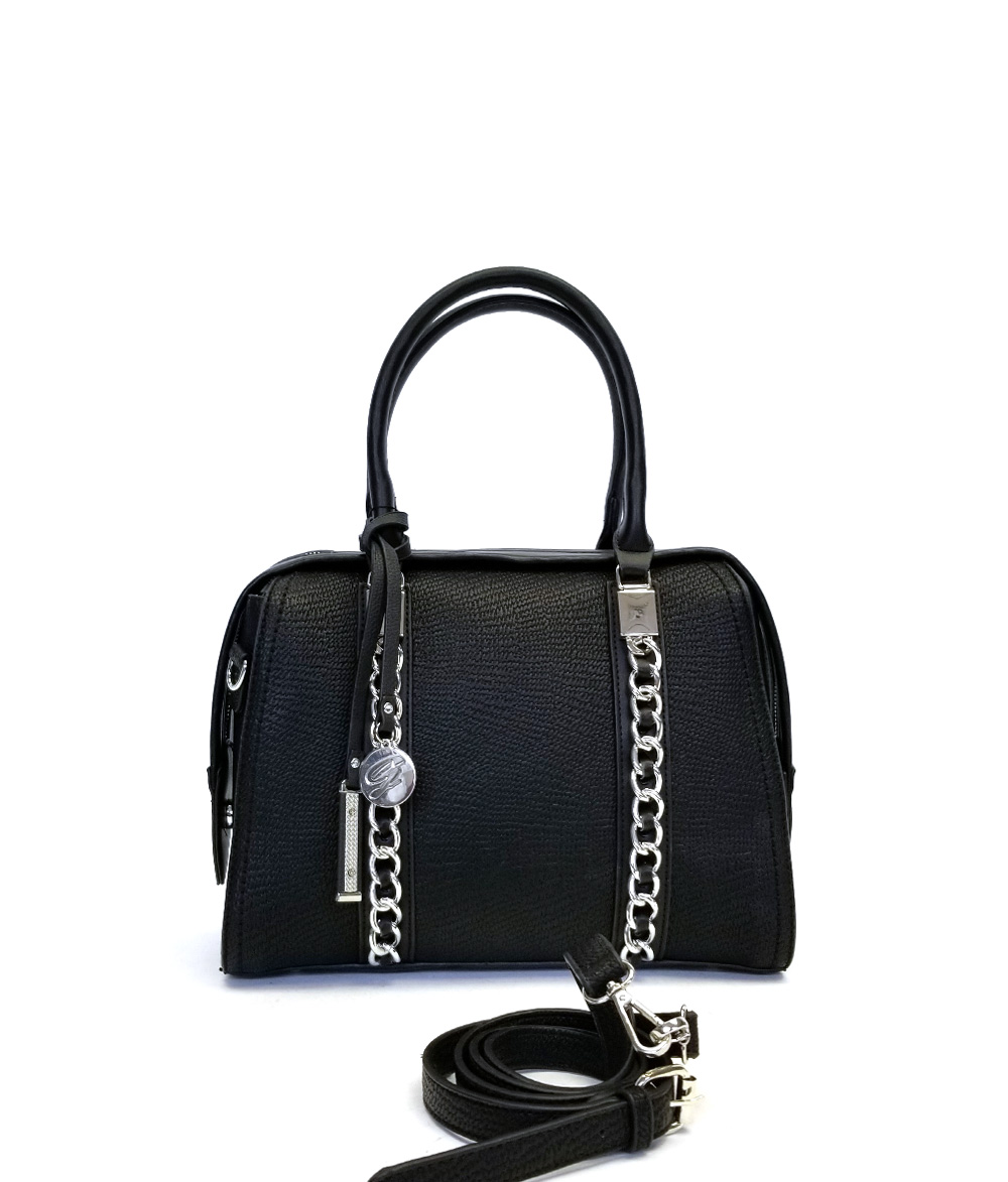 MoDA Satchel with Chain Details and Metallic Gold Snake Trim