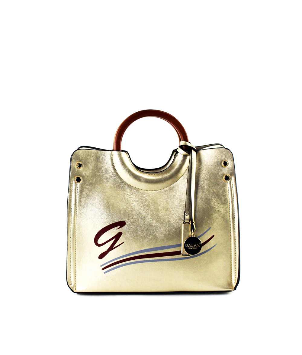 MoDA Medium Metallic Bag with Wooden Handle
