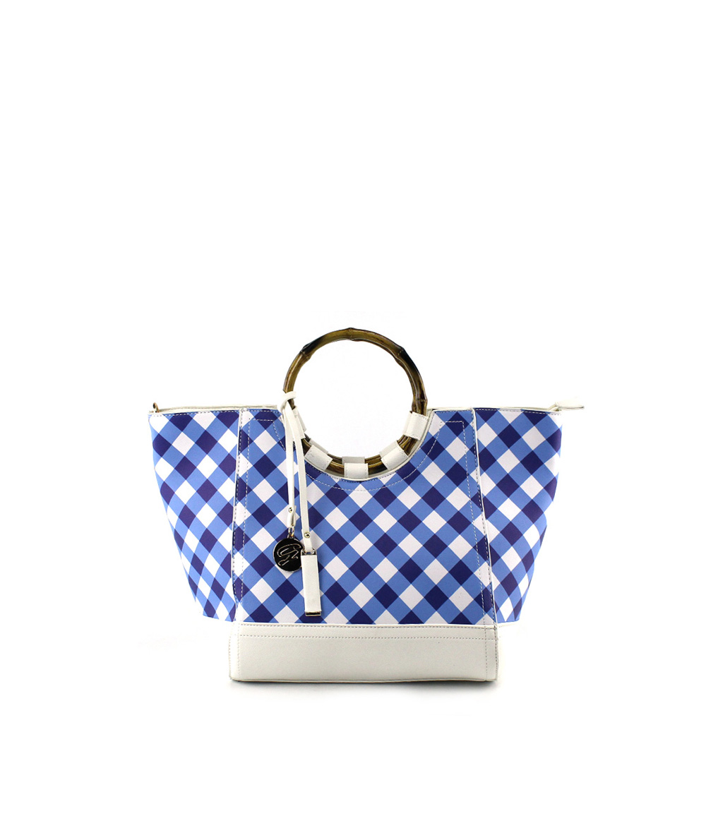 MoDA Bamboo Top Handle Tote in Plaid Print