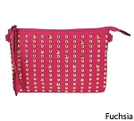 MoDA-Faux Leather Gold Tone Studded Shoulder Cross Body Wristlet Handbag- Assorted Colors