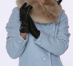 MoDA Ms Helsinki Women's Touchscreen Genuine Leather Gloves with Ruched Cuff