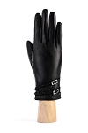 MoDA Women's Ms. Edinburgh Solid Leather Gloves with Braided Belt and Buckle C0130 Black