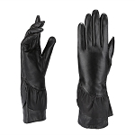 MoDA Women's Ms. Sydney Fleece Lined Genuine Leather Ruffle Evening Glove C0140-Black-M
