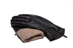 MoDA Women's Ms. Tokyo Genuine Leather Wool Lined Gathered Zip Winter Gloves C0143 Black
