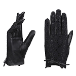 MoDA Women's Ms. Budapest Lace patterned Black Genuine Winter Driving Leather Gloves