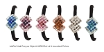 MoDA Hair Ponyo with Double Diamonds Rhinestone Gem Set of 6 Assorted Colors