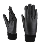 MoDA Mr. Denver Men's Genuine Leather Driving Gloves w Expandable Air Tight Cuffs C0180 Black