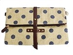 Navy Polka Dot Canvas Clutch