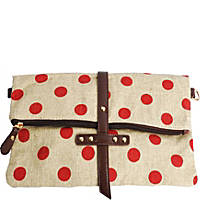 Red Polka Dot Canvas Clutch
