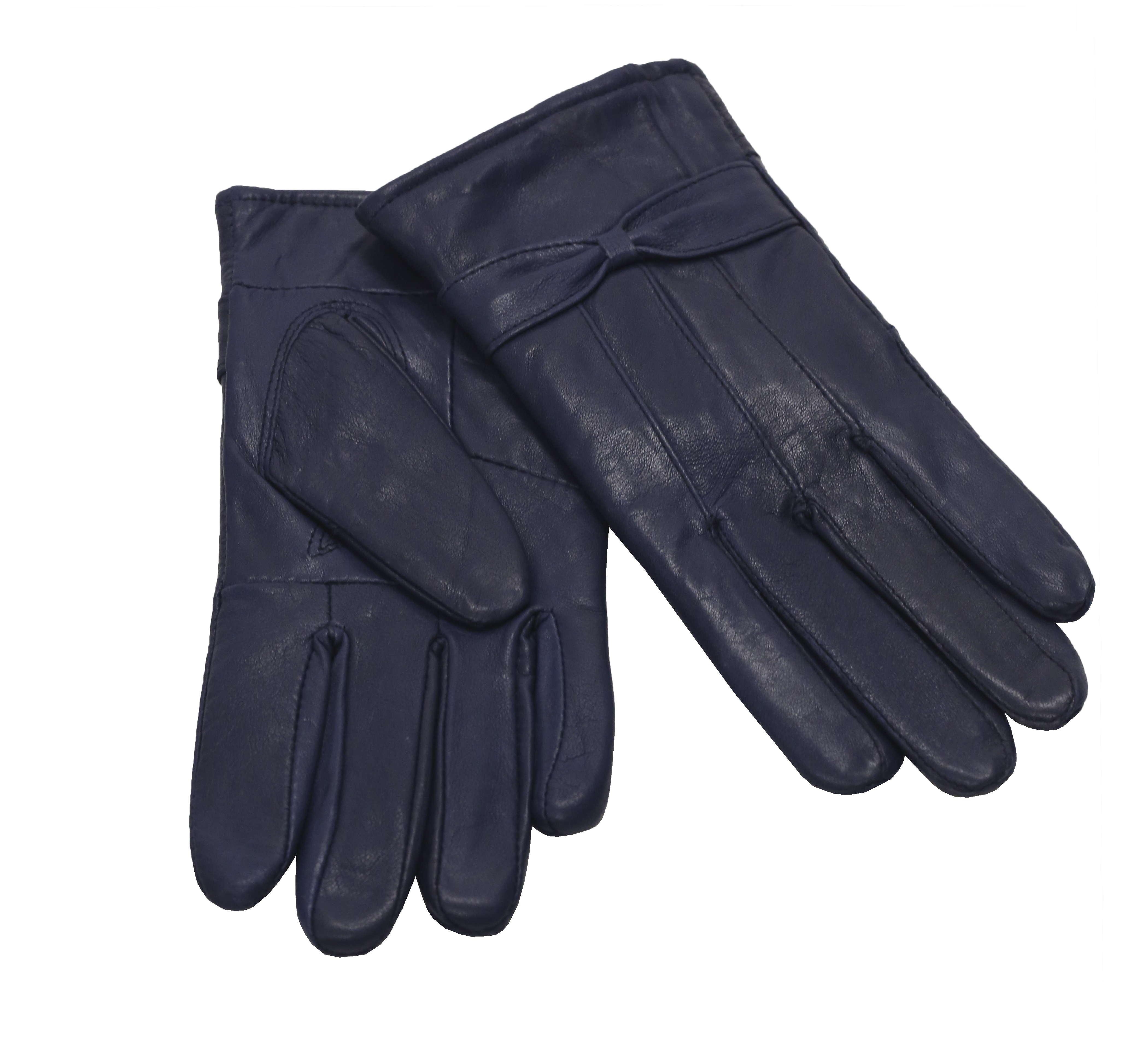 MoDA Ms Barcelona Womens Genuine Leather Assorted Colors Cold Weather Gloves with Bow C0101 Blue