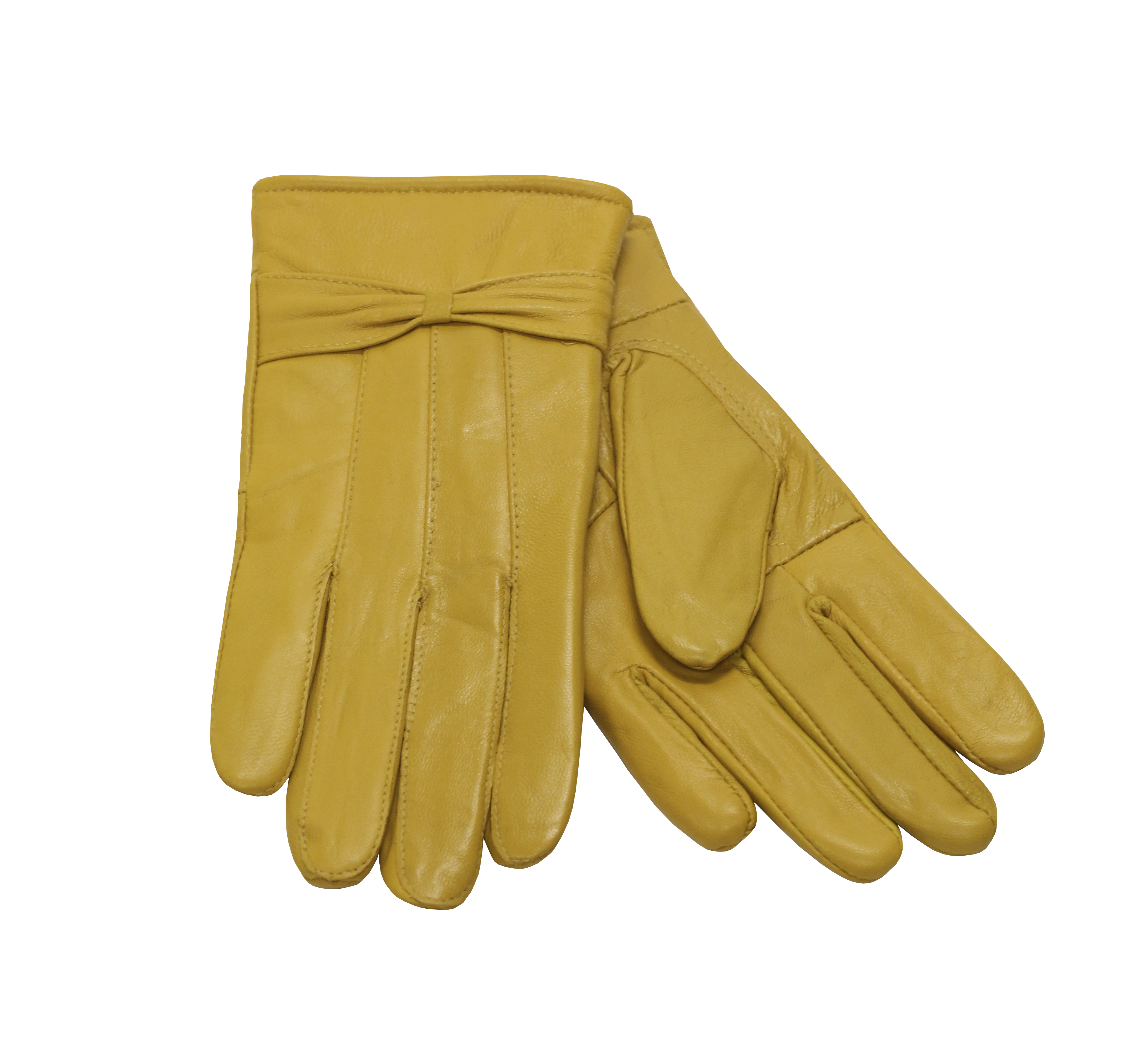 MoDA Ms Barcelona Womens Genuine Leather Assorted Colors Cold Weather Gloves with Bow C0101 Gold