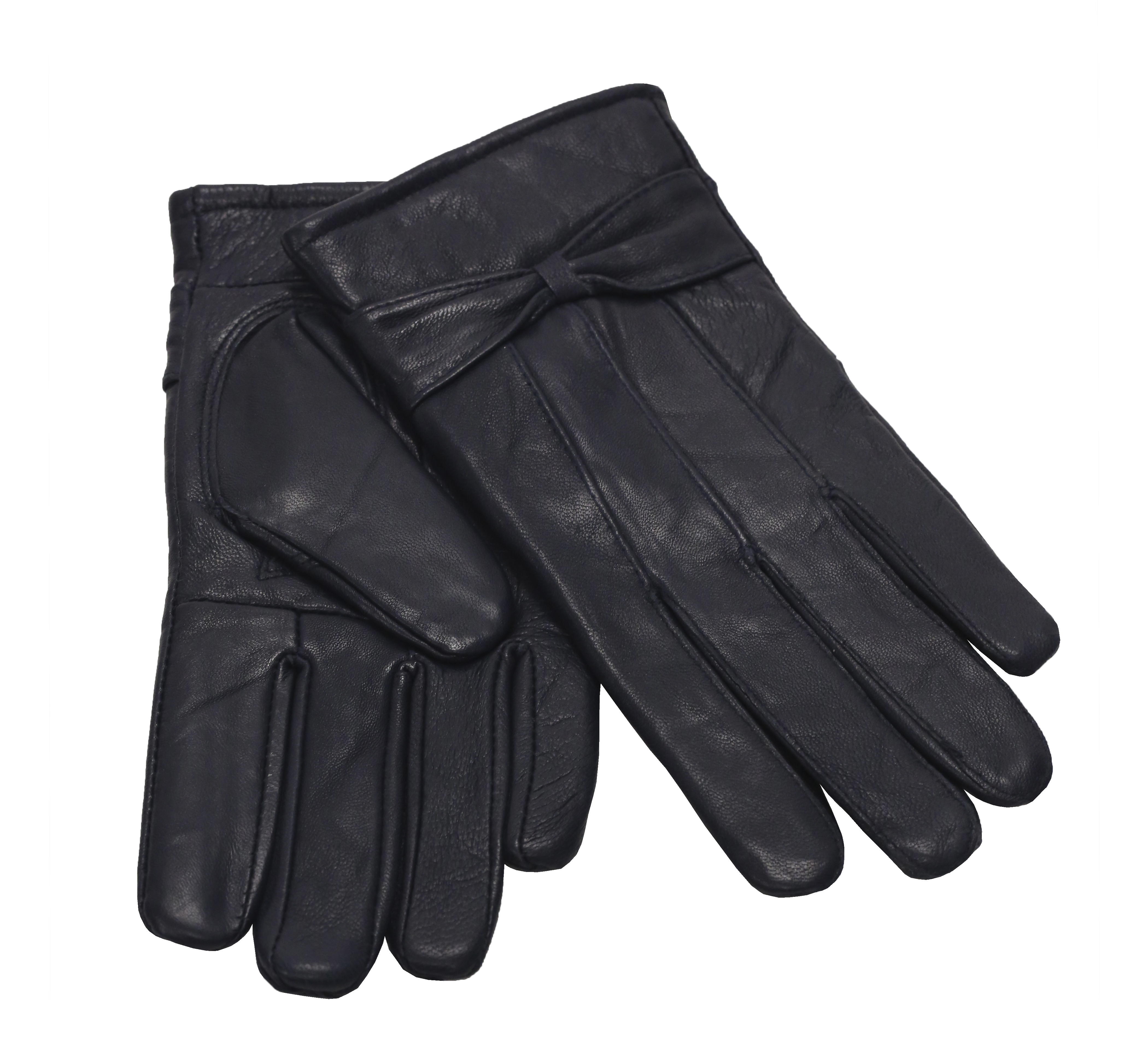 MoDA Ms Barcelona Womens Genuine Leather Assorted Colors Cold Weather Gloves with Bow C0101 Graphite