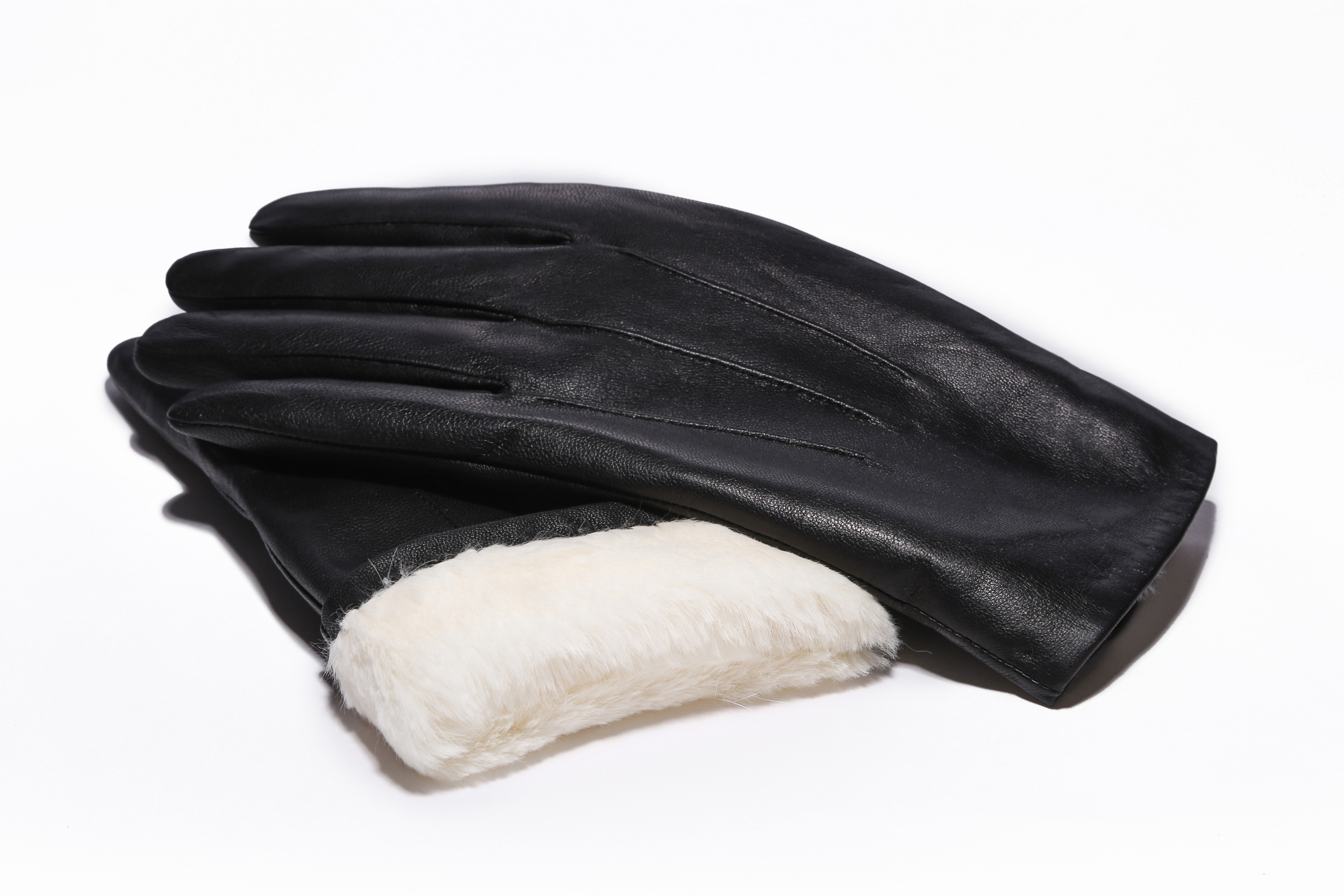 MoDA Men's Mr. Detroit Fur Lined Genuine Leather Winter Gloves C0165 Black