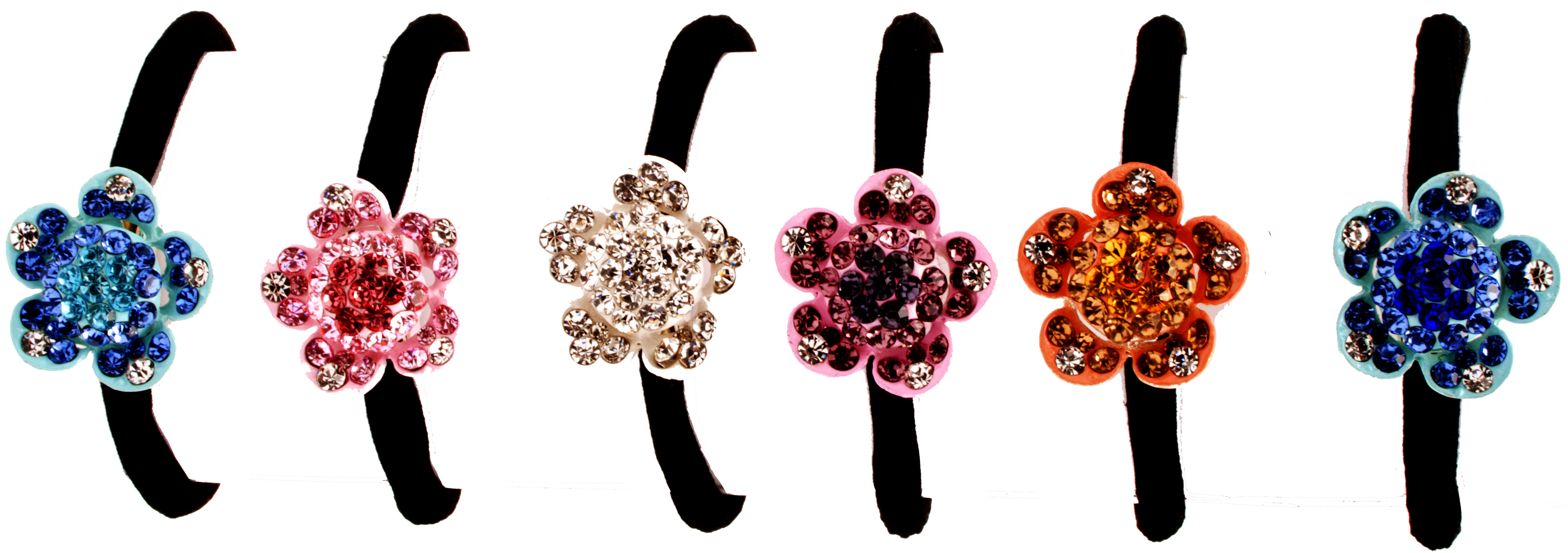 MoDA Hair Ponyo with Small Flower Rhinestone Gem Set of 6 Assorted Colors