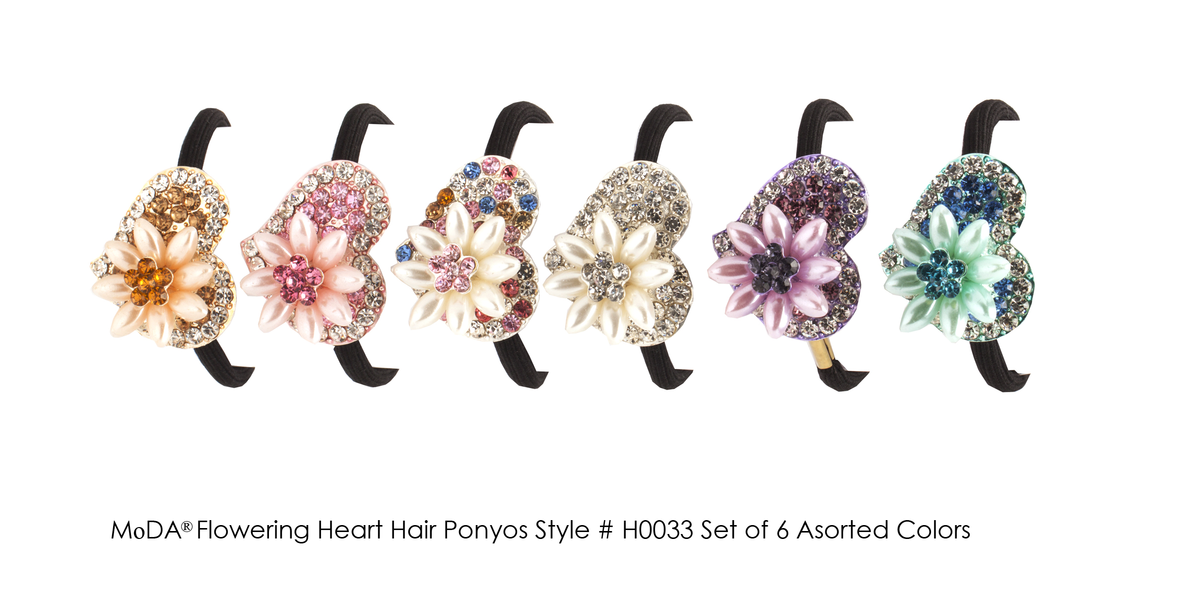 MoDA Hair Ponyo with Flowering Hear Rhinestone Gem Set of 6 Assorted Colors