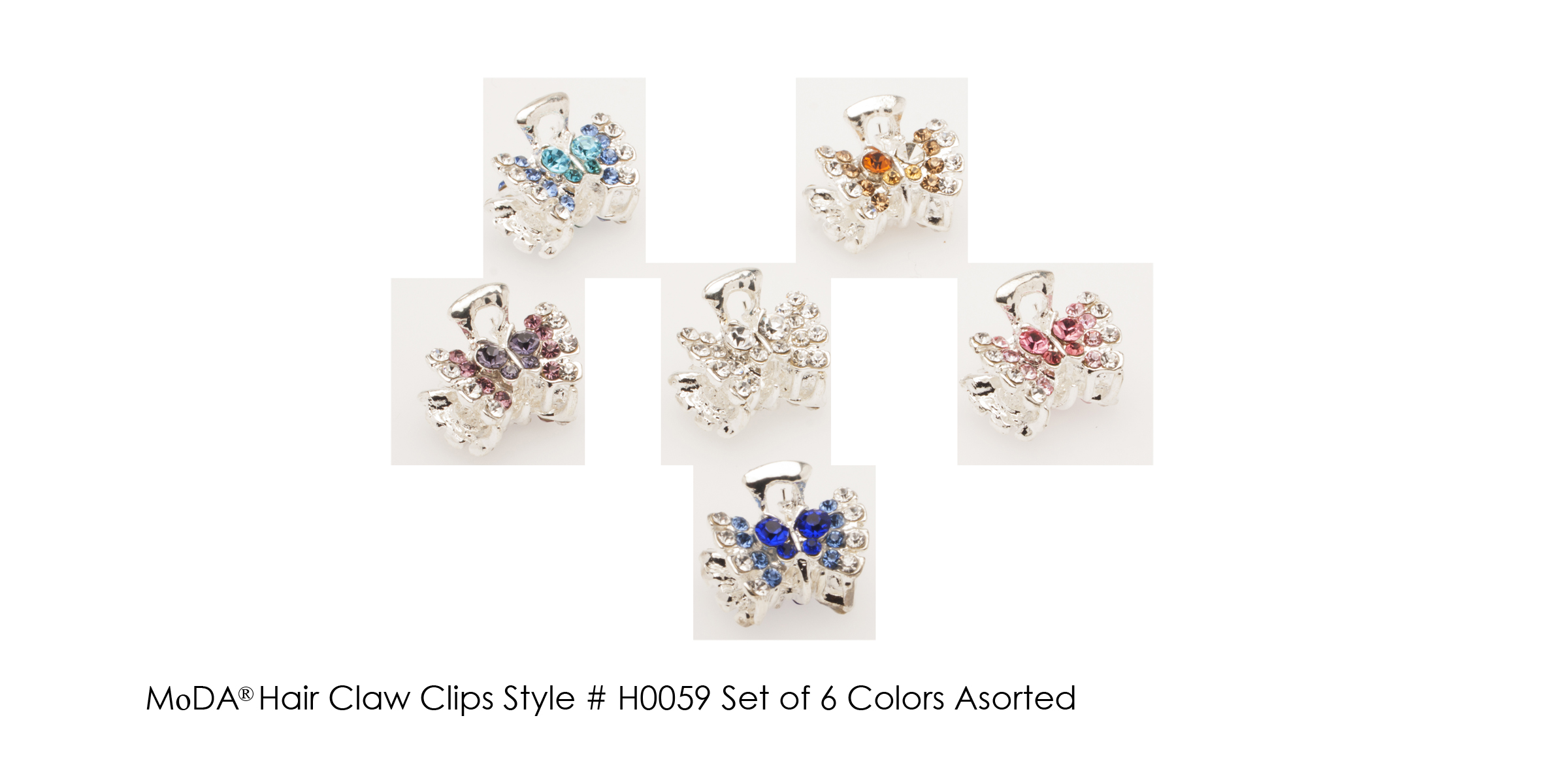 MoDA Hair Claw Clips Rhinestone Gem  Set of 6 Assorted Colors