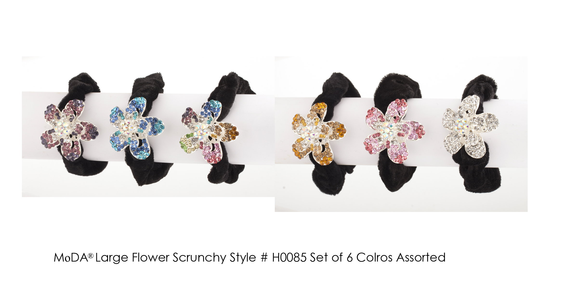 MoDA Large Flower Rhinestone Gem Scrunchy Set of 6 Assorted Colors