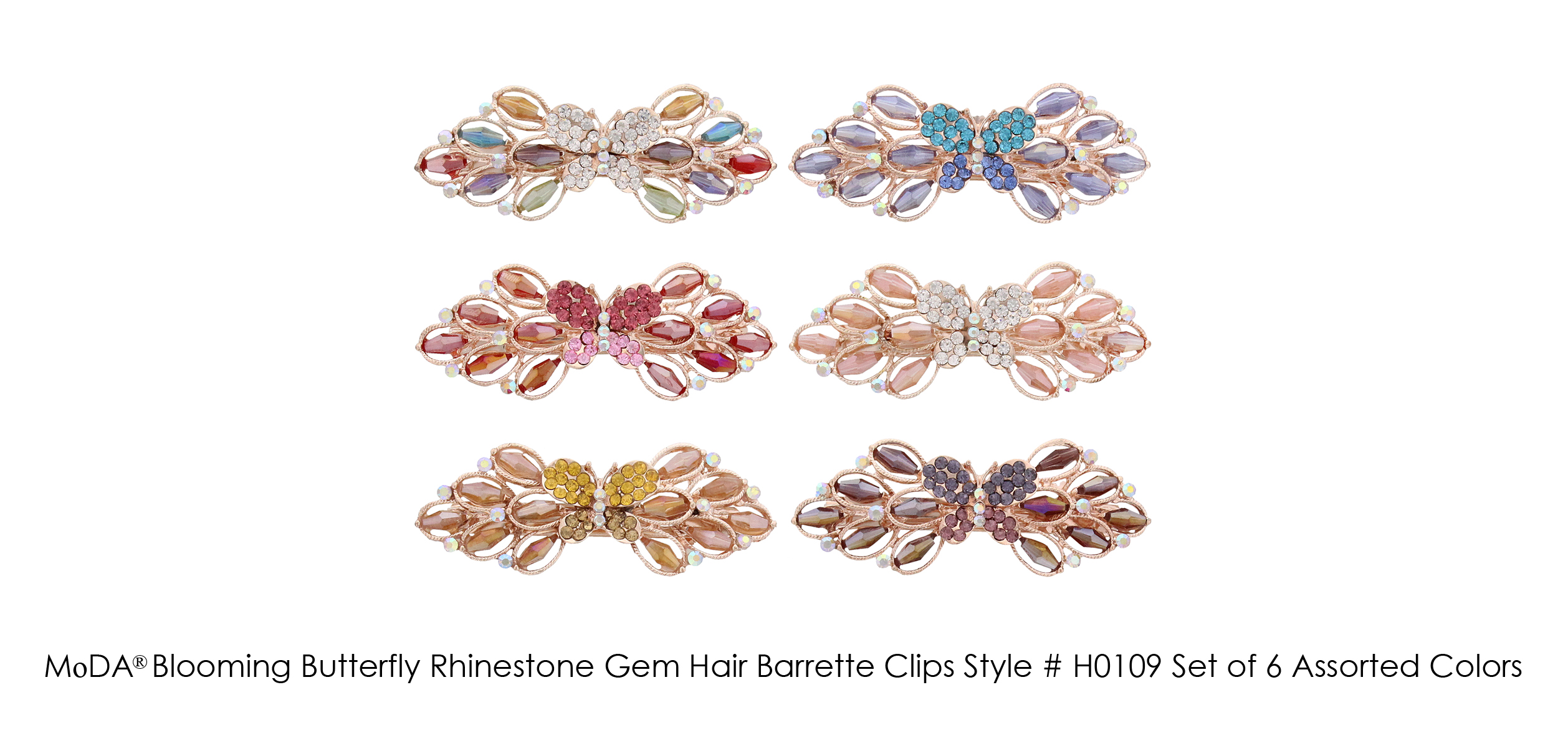 MoDA Blossoming Butterfly Rhinestone Gem Large Hair Clips Set of 6 Assorted Colors