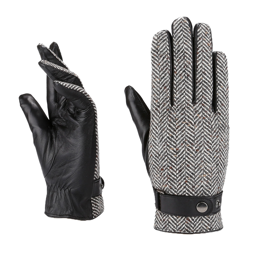 MoDA Mr. Milwaukee Mens Genuine Leather Gloves Slim Fit Unique Herring Bone Designer Limited Edition C0183 Black