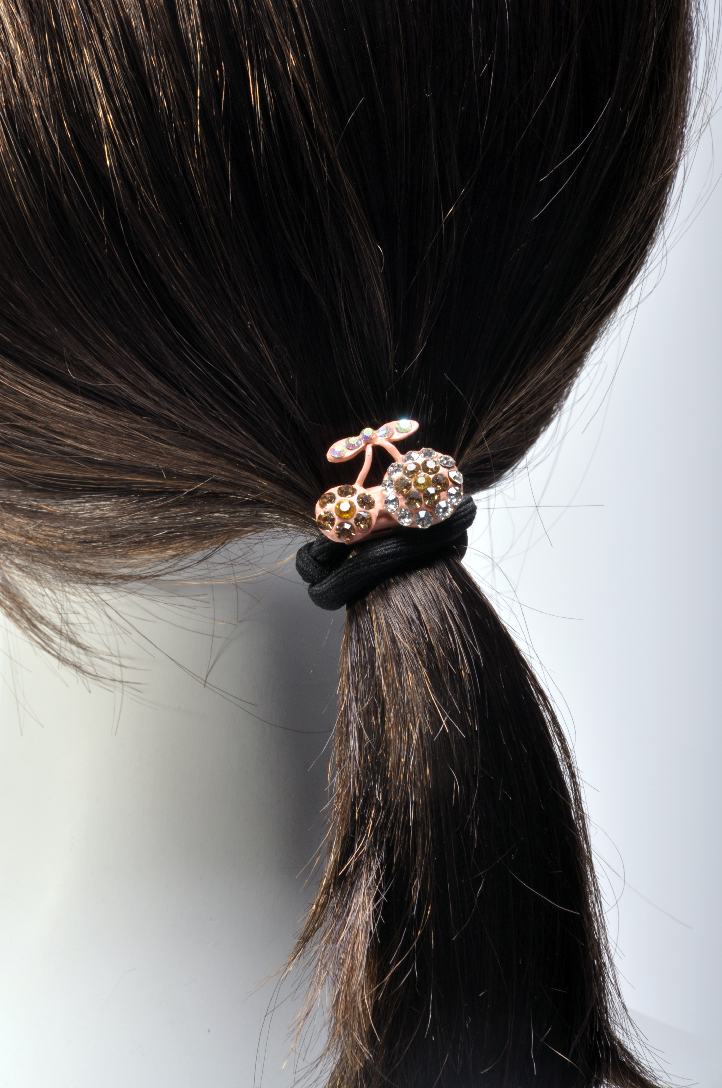 MoDA Hair Ponyo with Sparkling Man Made Diamonds of Cherries H0006