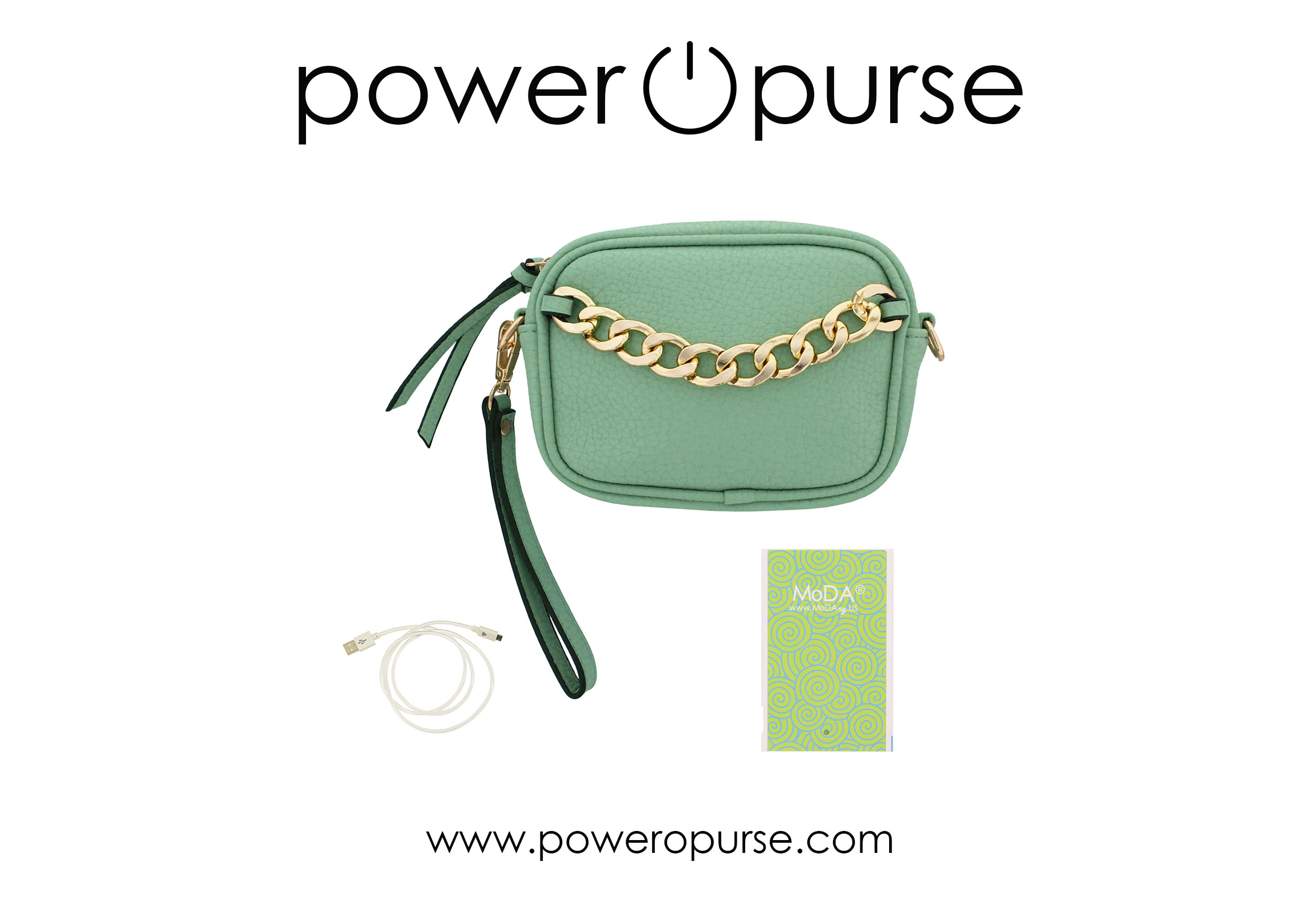 Power O Purse Chain Deco Mobile X Body + Ultra Slip Super Light Power Bank + Flash Charging Cable