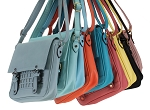 MoDA-Women's Must-Have Cross Body Messenger Bag with 2 Buckles and Geometric Design