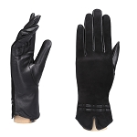 MoDA Women's Ms.Vail Genuine Suede and Leather Fleece Lined Winter Gloves C0149-Black-M