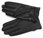 MoDA Mr. Cleveland Mens Genuine Leather Gloves Rare Find Woven Designer Limited C0184-Black