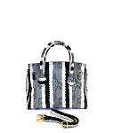 MoDA Snake Print large satchel with metal ornament