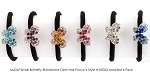MoDA Hair Ponyo with Small Butterfly Rhinestone Gem Set of 6 Assorted Colors