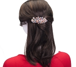 MoDA Feathering Peacock Rhinestone Gem Large Hair Clips Set of 6 Assorted Colors